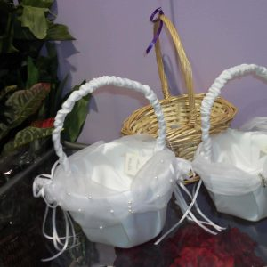 Wedding White Flowergirl Baskets - Weddings - Flowers R Us