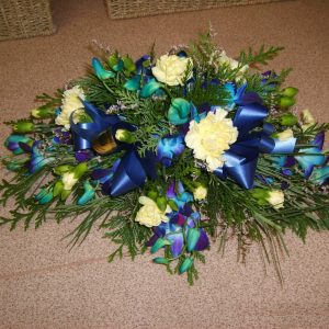 Blue Orchid & Carnation Mini Spray - Funerals - Flowers R Us