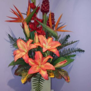 Silk Orange Lilly Arrangement & Ceramic Vase - Silks - Flowers R Us