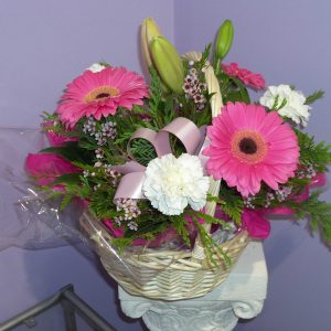 Fresh Pink Basket Arrangement - Fresh Flowers - Flowers R Us