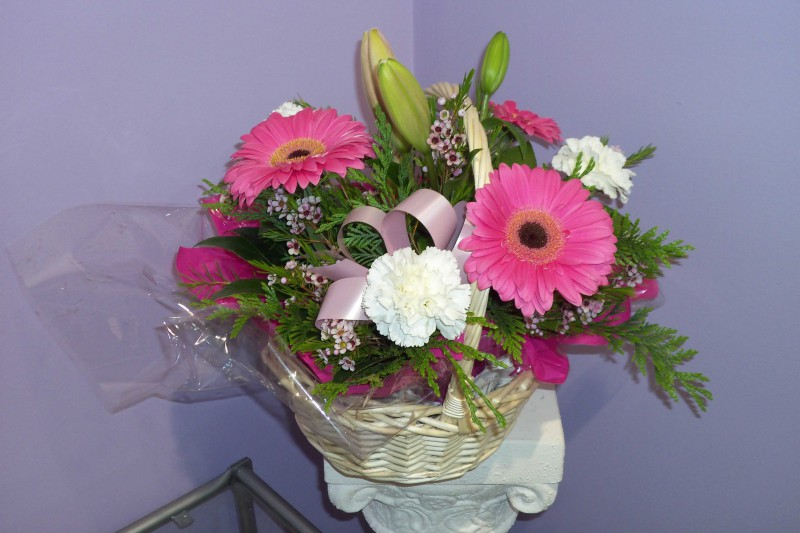 Fresh Pink Basket Arrangement - Fresh Flowers - Flowers R Us