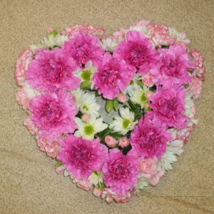 Pink Carnation Heart Wreath - Funerals - Flowers R Us