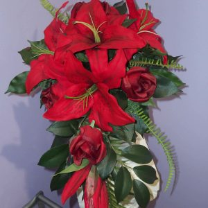 Wedding Red Lilly & Rose Teardrop Silk - Weddings - Flowers R Us