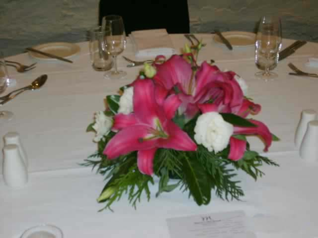 Beautiful Pink Lilly Table Center Fresh   Weddings   Flowers R Us