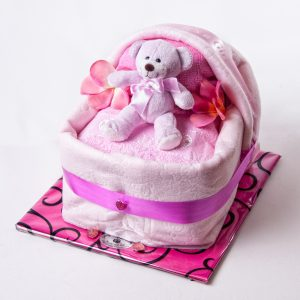 Baby Cradle - Nappies, Teddy, Rug & Bib - New Baby - Flowers R Us