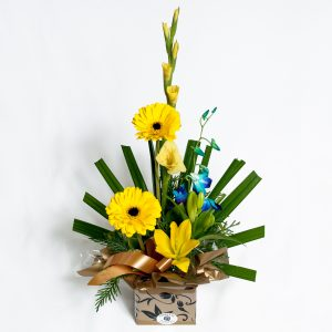 Yellow Box Arrangement Gerberas, Lillies, Orchids - Fresh Flowers - Flowers R Us