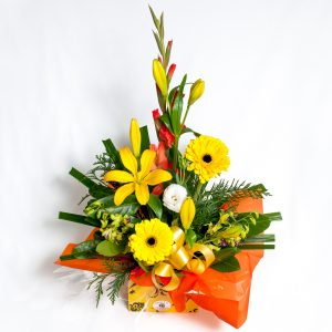 Yellow Box Arrangement Gerberas, Lillies, Lizzies, Orchids - Fresh Flowers - Flowers R Us
