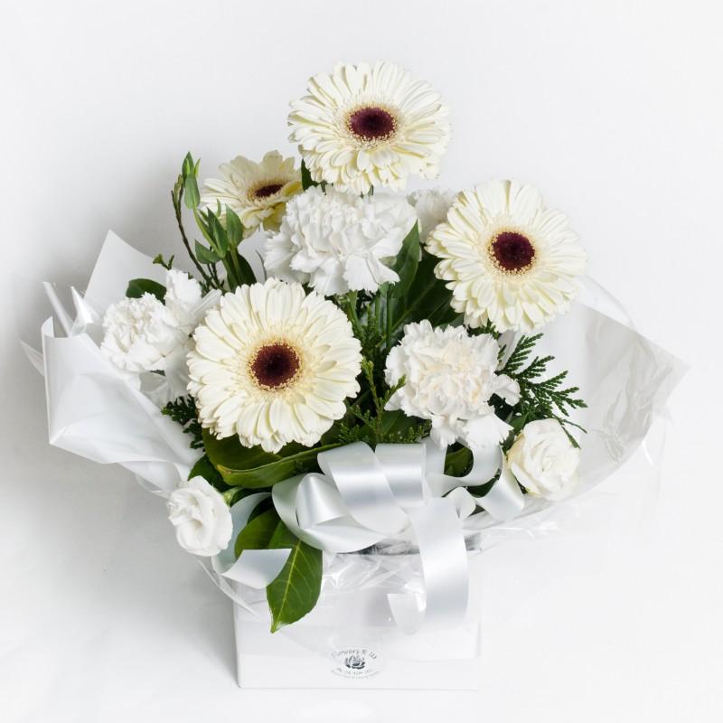 All white round box arrangement flowers r us all white round box arrangement mightylinksfo