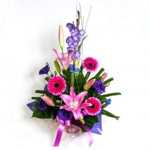 Pink & Purple Box Arrangement With Gerberas, Lillies & Lizzies - Fresh Flowers - Flowers R Us