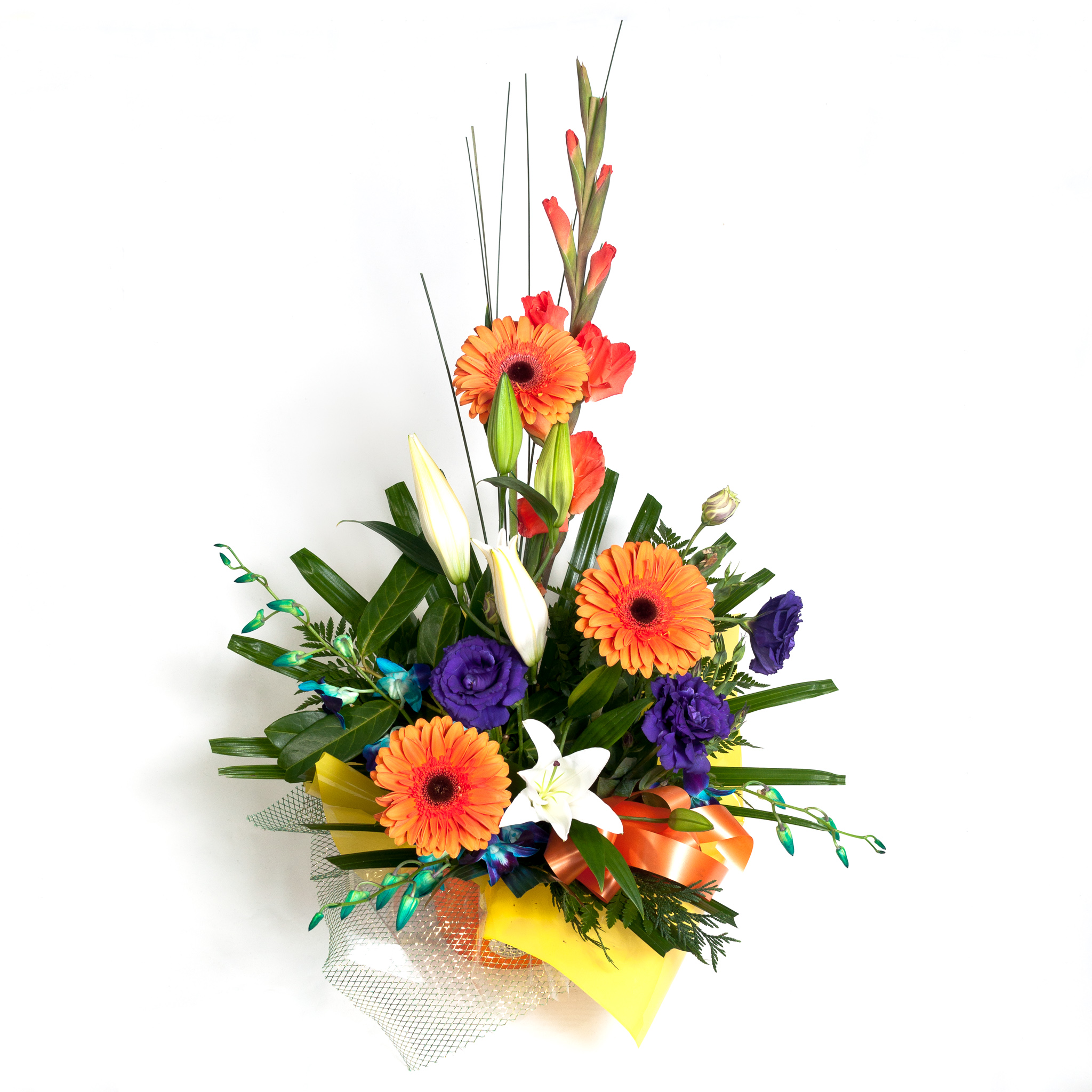 Orange Box Arrangement With Gerberas, Lillies, Lizzies & Blue Orchids - Fresh Flowers - Flowers R Us