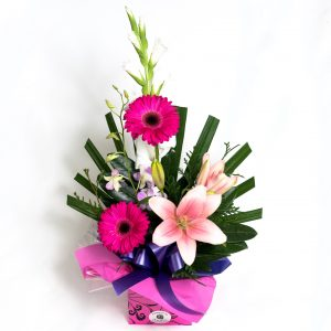 Pin & Purple Box Arrangement With Gerberas, Orchids & Lillies - Fresh Flowers - Flowers R Us