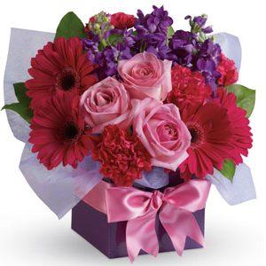 Pink purple box arrangement with gerberas lillies lizzies simply stunning international interstate flowers r us altavistaventures Gallery