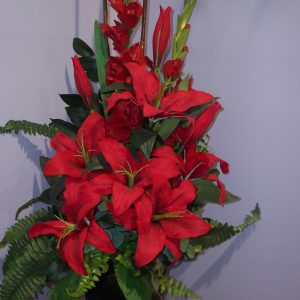 Silk Red Lilly Stunning Arrangement - Silks - Flowers R Us