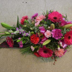 Sympathy Flowers Pink Half Casket Spray - Funerals - Flowers R Us