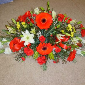 Red Gerberal Lillies Mix Large Casket Spray - Funerals - Flowers R Us