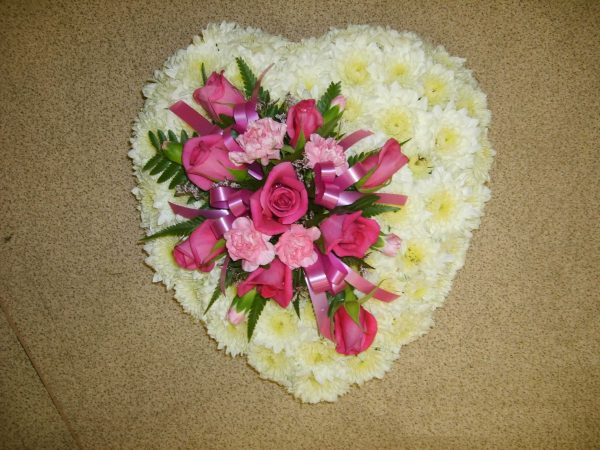 Sympathy Flowers White & Pink Heart Spray - Funerals - Flowers R Us