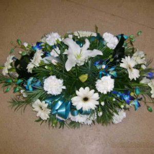 Blue & White Large Casket Spray - Funerals - Flowers R Us