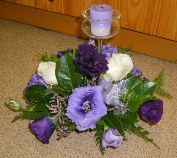 Wedding Purple Lizzie & Rose Center Piece Fresh - Weddings - Flowers R Us