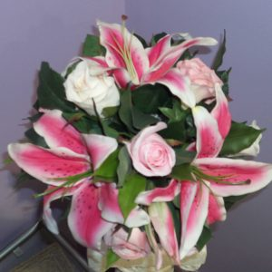 Wedding Pink Lilly & Rose Bouquet Silk - Weddings - Flowers R Us