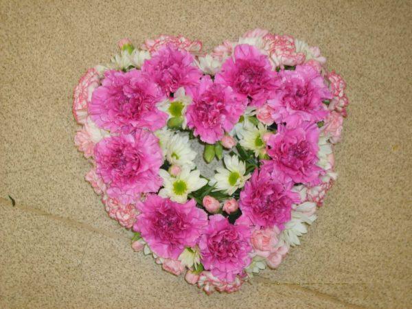 Pink Carnation Heart Wreath - Funerals - Flowers R Us