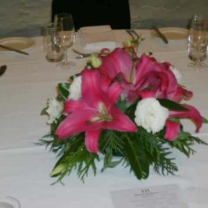 Pink Lilly Table Center Fresh - Weddings - Flowers R Us
