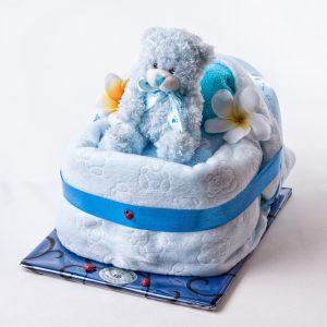 Baby Cradle - Nappies, Teddy, Rug & Bib - New Baby - Flowers R Us