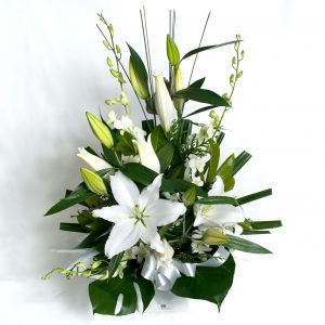 White Box Arrangement White Lillies & Orchids - Fresh Flowers - Flowers R Us