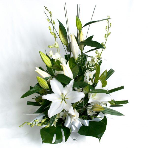 White Box Arrangement White Lillies & Orchids - Fresh Flowers - Flowers R Us