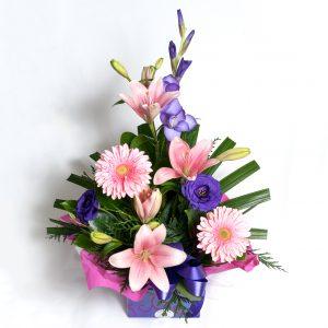 Soft Pink Box Arrangement Gerberas, Lillies, Lizzies - Fresh Flowers - Flowers R Us