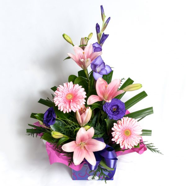 Soft Pink Box Arrangement Gerberas, Lillies, Lizzies - Fresh Flowers - Flowers R Us