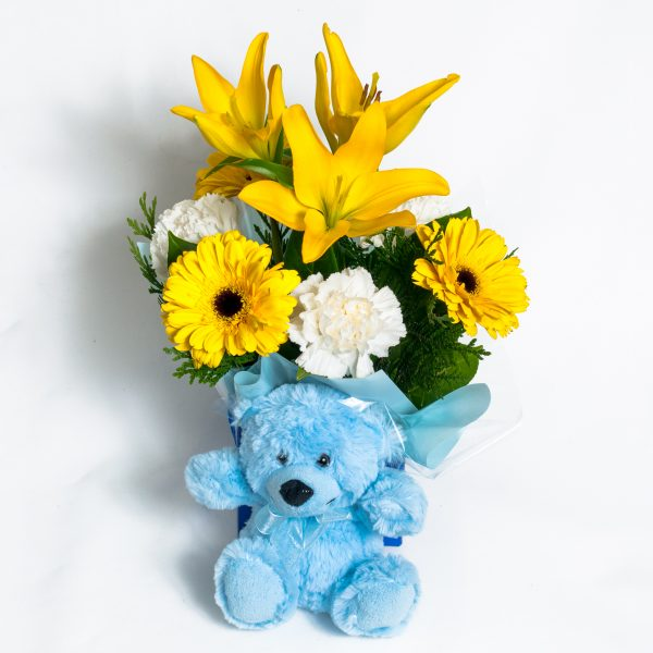 All Round Yellow Box Arrangement - Includes Blue Teddy - Fresh Flowers - Flowers R Us