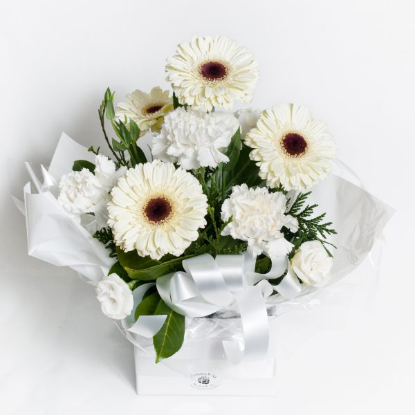 All White Round Box Arrangement - Fresh Flowers - Flowers R Us