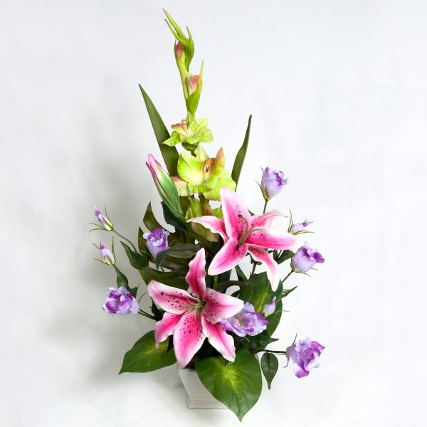 Silk Pink Gladie Lillies & Purple Lizzies - Silks - Flowers R Us
