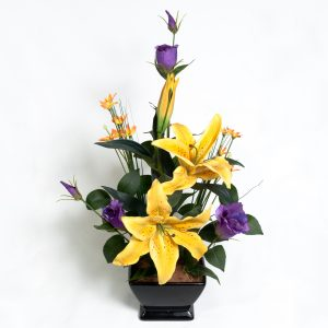 Silk Yellow Lillies & Purple Lizzies - Silks - Flowers R Us