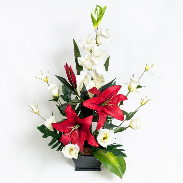 Silk Red Orchid Red Lilly & White Lizzies - Silks - Flowers R Us