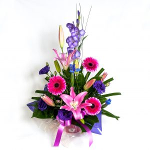Pink & Purple Box Arrangement With Gerberas, Lillies & Lizzies - Fresh Flowers - Flowers R Us