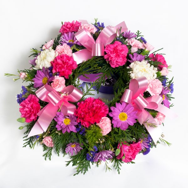 Pink Wreath Mixed Pink Flowers - Funerals - Flowers R Us