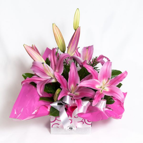 Pink Oriental Lilly Box Arrangement - Fresh Flowers - Flowers R Us